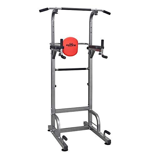 RELIFE REBUILD YOUR LIFE Power Tower Barre de Traction Chaise Romaine Multifonction Station Dips Entraînement de Musculation à la Maison