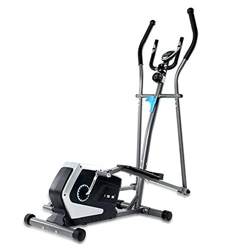 ISE Vélo elliptique d'appartement Magnétique Cross Trainer Adulte, LCD Display, Ergomètre Compatible, 8 Niveaux de Résistance, Poids d'inertie de 8 KG, Max 120 kg SY-9801