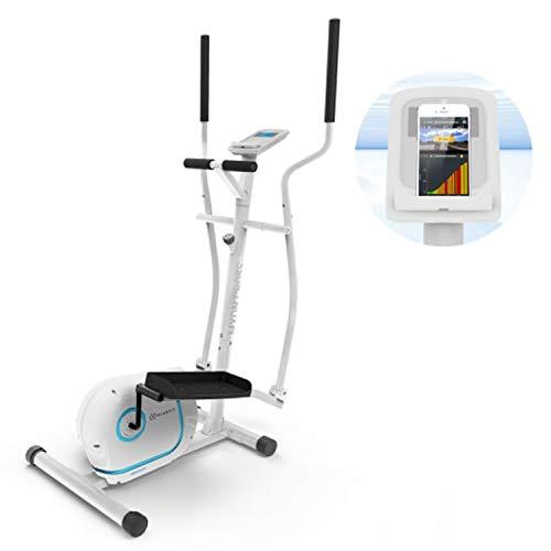 KLAR FIT Klarfit Myon Cross - Vélo elliptique, Volant inertie 12 kg, SilentBelt System, Blanc