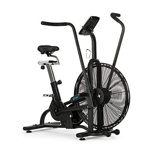 Capital Sports Strike Bike 2020 Edition - Vélo Cardio, Résistance à l'air, Bluetooth, Ordinateur d'entraînement, Réglable en Hauteur et Profondeur, Support Tablette, Max.150 kg, Noir