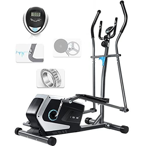 ISE Vélo elliptique d'appartement Magnétique Crosstrainer Adulte, écran LCD, Pulsomètre, 8 Niveaux de Résistance, Poids d'inertie de 8 KG, Max 120 kg SY-9801 (SY-9801)