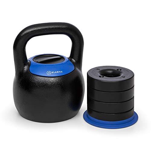 KLAR FIT Adjustabell Kettlebell réglable - Poids réglable : 16/18 / 20/22 / 24 kg, encombrement réduit, Fonte, Noir/Bleu