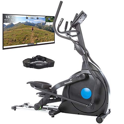 skandika CardioCross Carbon Champ - Vélo elliptique - Bluetooth - Support tablette - 19 programmes - Masse d'inertie 23,5 kg - 32 niveaux de résistance - Max. 150 Kg