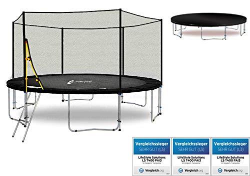 LifeStyle ProAktiv Trampoline LS-T400-PA13 (SW) de Jardin - 400 cm - 13ft - Fort Filet de Sécurité - 180kg Capasite - New