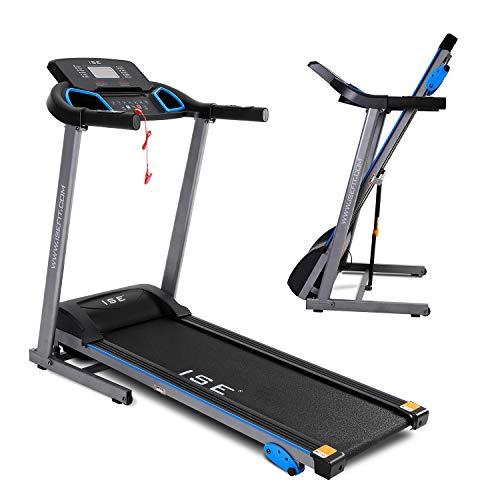 ISE Tapis de Course Fitness Electrique Pliable 1 à 14 Km/h, Puissance 750 W, écran LCD Multifonctions avec 12 Programmes d'exercices, Inclinaison, Domicile Professionnel, SY-T4001