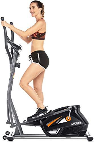 ANCHEER Vélo elliptique de Finess elliptique Volant d'inertie 15 kg/ 10 Niveaux de résistance/Mesure du pouls pour la Gymnastique et l'entraînement à la Maison (Gris)