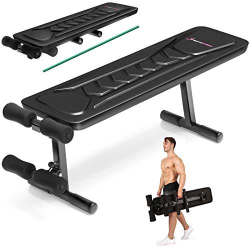 Sportstech Banc de Musculation Pliable Multifonction Sit-up Fitness BRT100/500 inclinable muscu Entrainement, réglable, poignées Push-up Fitness Muscles abdominaux