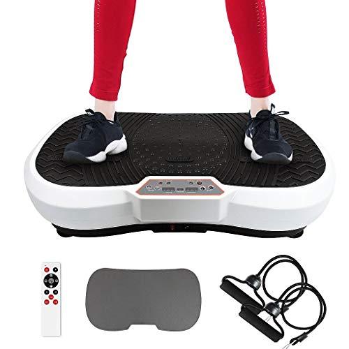Leogreen Fitness Plateformes Vibrantes et Oscillantes, avec Télécommande, Bandes de resistances et Tapis de Yoga, 180 Niveaux, 69 x 39 x 13 cm