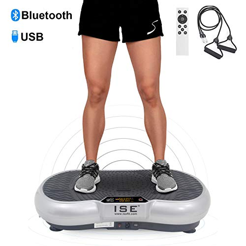 ISE Plateforme Vibrante Fitness, Grande Surface 67x36cm,99 Niveaux de Vitesses avec Bluetooth/USB/Télécommande,Idéal pour Fitness et Musculation | Perte de Poids Rapide,Max.150 KG,SY-328 Argent