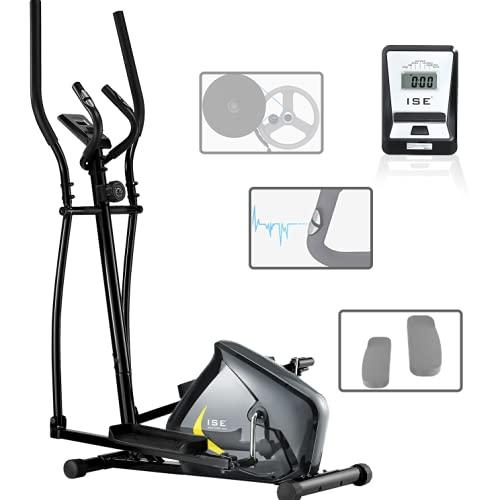 ISE Vélo elliptique d'appartement Magnétique Crosstrainer Adulte, écran LCD, Pulsomètre, 8 Niveaux de Résistance, Poids d'inertie de 8 KG, Max 120 kg SY-9801 (SY-9802)
