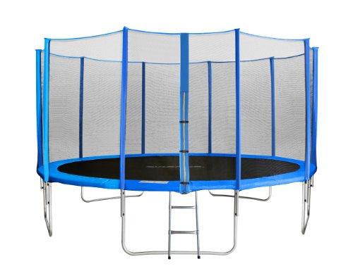 SixBros. Sixjump 2,45 M Trampoline de Jardin Bleu - Filet de sécurité - Échelle - Housse de Protection - TB245/1609
