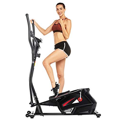 ANCHEER Vélo elliptique de Finess elliptique Volant d'inertie 15 kg/ 10 Niveaux de résistance/Mesure du pouls pour la Gymnastique et l'entraînement à la Maison (Noir)