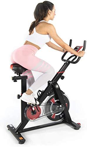 ISE Vélo d'Appartement Fitness à l'Intérieur Exercice Bike Cardio Entraînement Résistance Réglable et Écran LCD Silencieux Sport Maison Max 120kg, SY-7021 (Noir)
