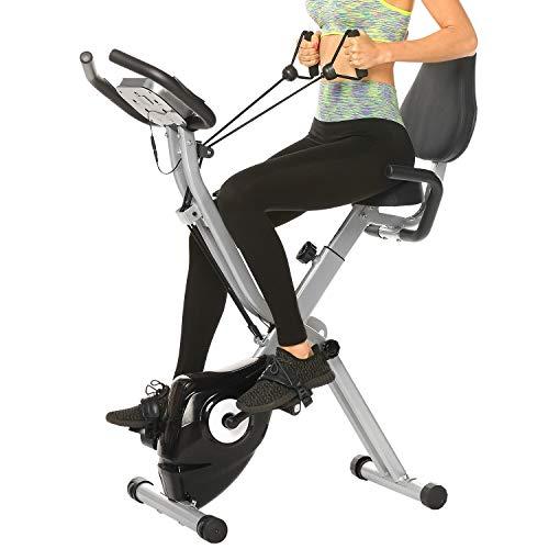 ANCHEER Vélo d'Appartement Pliable À Domicile, Vélo d'exercice avec APP/Écran LCD/Résistance Magnétique Réglable À 10 Niveaux pour Cardio Fitness (Gris 2)