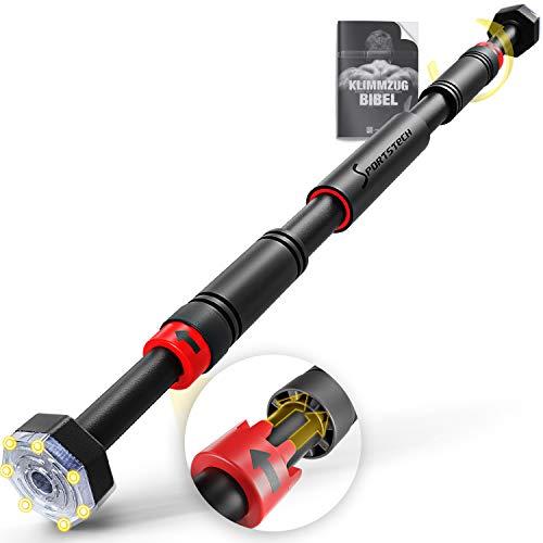 Sportstech Barre de Traction avec Fonction Gear-Lock innovante | Fixation sûre et Rapide sans vis dans Le Cadre de la Porte | jusqu'à 200 kg | réglable Individuellement jusqu'à 90 cm | KS260 + eBook