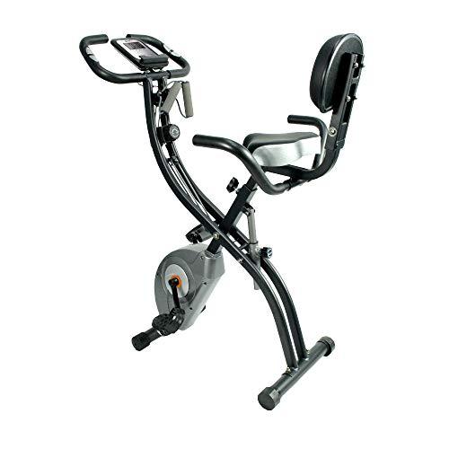 ATIVAFIT Vélo d'appartement Pliable Vélo d'entraînement avec écran ACL à capteur de pouls Manuel, siège Confortable et poignées
