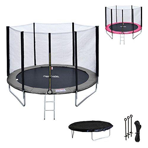 Happy Garden Pack Premium Trampoline 245cm réversible Gris/Rose Canberra + Filet, échelle, bâche et kit d'ancrage