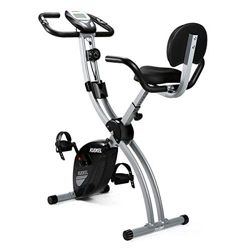 KUOKEL Vélo d'appartement Pliable Exercice Bike 8 Niveaux de Resistance Siège Réglable avec Moniteur LCD Support de Téléphone (avec Dossier)