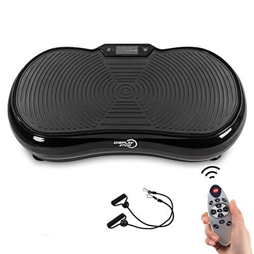 Display4top Ultra Slim Plateforme Oscillante, 5 Programs + 180 Levels, Exerciseur à Vibrations pour Fitness et Perte de Poids à Domicile, avec Haut-Parleur Bluetooth, Charge maximale 150kgs (Noir)