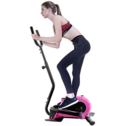 Zengqhui Machine Elliptique Vélo elliptique Machine Cardio Training elliptiques- Portable Design Compact Vertical Fitness Workout elliptique Pliable vélo Sport (Couleur : Rose, Taille : 62x43x125cm)