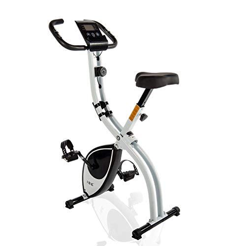 ISE F-Bike Vélo d'appartement Cardio Training Fitness Pliable 8 Niveaux de résistance magnétique écran LCD Entraînement avec capteur de fréquence Cardiaque, SY-810L