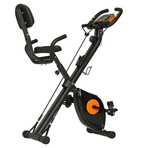 ephex Vélo d'appartement - Vélo de fitness magnétique pliable avec 8 niveaux de résistance - Masse d'inertie de 2,5 kg - Avec cordes de tension et capteurs de pouls à la main.