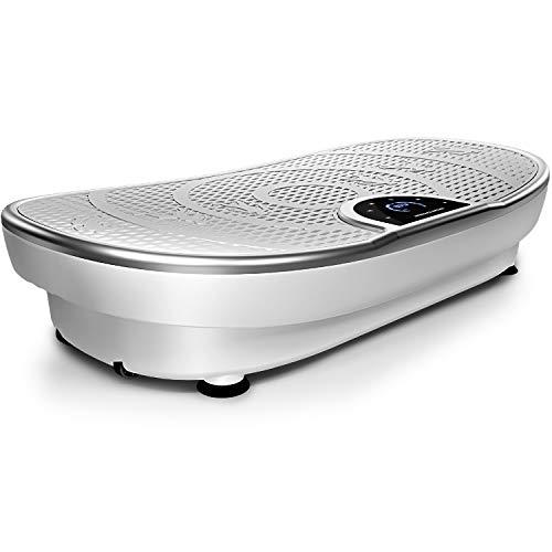 Nouveauté 2020! Plaque vibrante VP250 au design élancé| brûleur de graisse, développement musculaire| moteur silencieux avec 180 niveaux| 7+1 entraînement, option yoga| haut-parleur Bluetooth (noir)