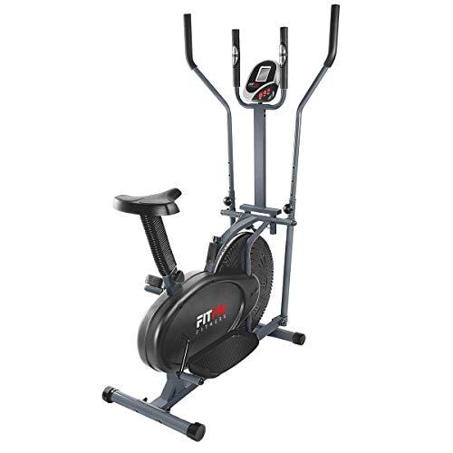 FITFIU Fitness BELI-120 - Vélo elliptique avec selle réglable elliptique multifonctionnel et magnétique, disque d'inertie de 5 kg, écran LCD et fréquence cardiaque, idéal pour l'entraînement fitness
