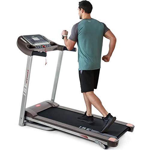 ISE Tapis de Course Pliable, 14km/h, écran LCD Multifonctions avec 12 Programmes d'exercices, Cardio Fitness Sport, Silencieux, 120kg Max, SY-T2708