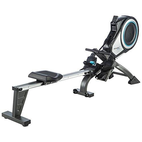 skandika Elite Pro - Rameur à air Pliable avec Ceinture Cardio - 8 Niveaux de résistance- Max. 130 kg