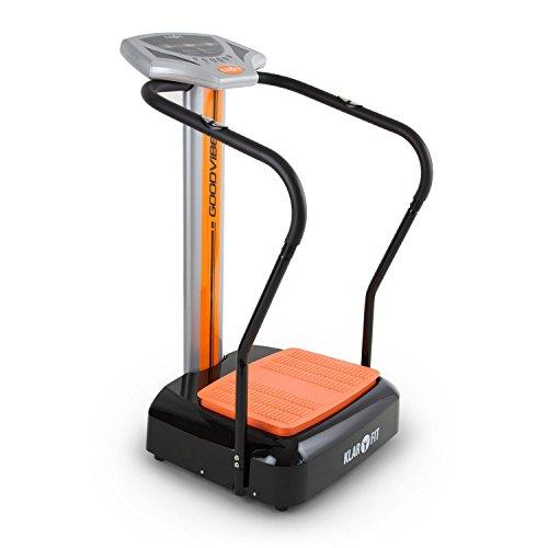 Klarfit Goodvibe • Plateforme vibrante• Appareil de fitness • Change de côté• 100vitesses • Moniteur de fréquence cardiaque• Ordinateur d'entrainement • Écran LED • Roulettes • Peu encombrant• Orange/Noir, black-orange