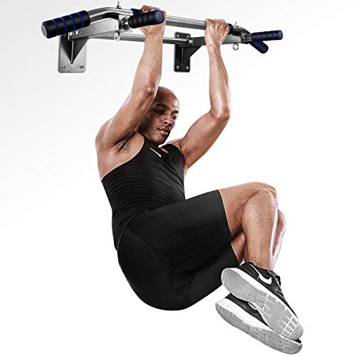 INTEY Barre de Traction, Fitness Fixation Murale Exercices avec Poignée Ergonomique et 2 Anneaux pour Punching-Ball,Charge Maximale:135 kg - élingues poignées antidérapantes