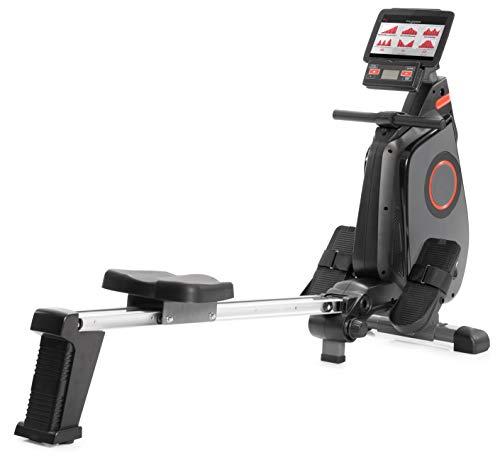 SportPlus - Rameur Pliable, Système de freinage magnétique, 24 Niveaux de résistance réglés par Ordinateur, Silencieux, Siège avec roulement à Billes, Poids Max de l'utilisateur 150 kg, Noir