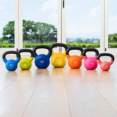 METIS Kettlebell avec Revêtement en Néoprène - 4kg à 20kg | Poids pour Entraînements de Fitness à Domicile ou Gym (6kg)