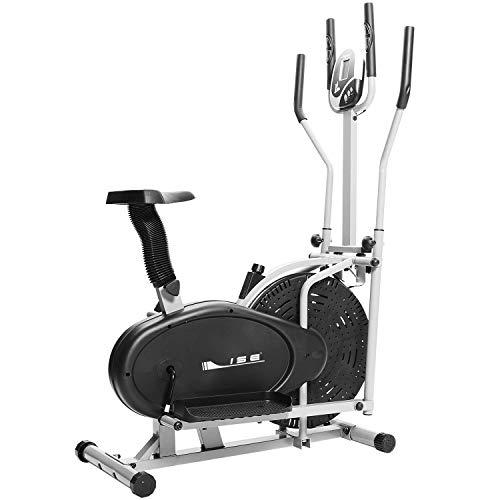 ISE Vélo Elliptique et Vélo d'Appartement 2 en 1,Cross Trainer avec Siège, Cardio Training avec Pulsomètre & Écran LCD, Max. 120KG, SY-9002