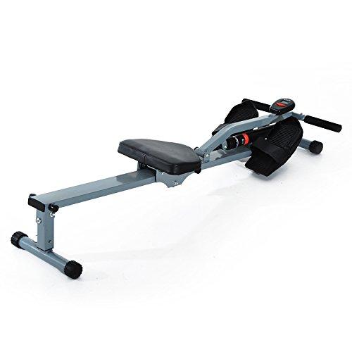 Homcom Rameur d'appartement Appareil de Fitness et Musculation Cardio Training écran LCD Multifonction Acier Gris et Noir