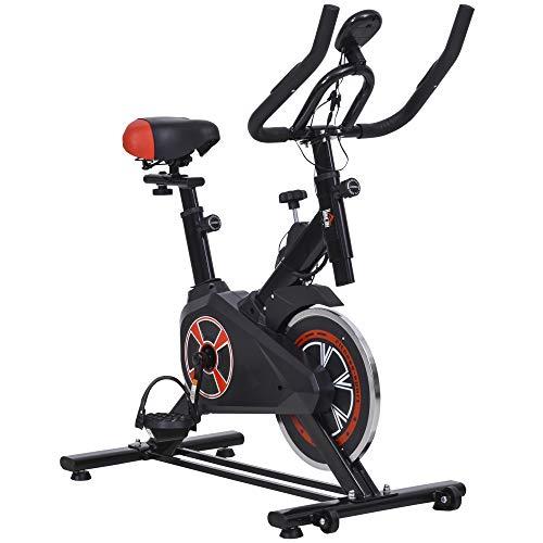 Homcom Vélo d'appartement Cardio vélo Biking écran LCD Multifonction Selle et Guidon réglable Volant inertie 5 Kg Noir Rouge