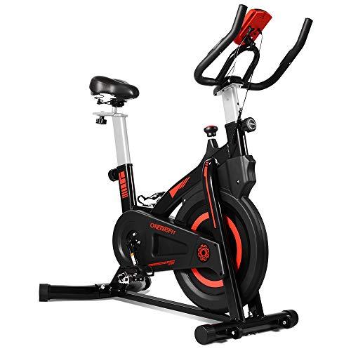 ONETWOFIT Vélo d'Entraînement Intérieur avec Moniteur, Siège et Guidon Réglables pour Maison Entrainement Cardio OT212