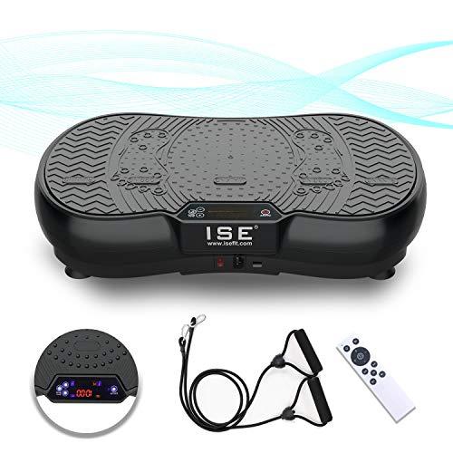 ISE Plateforme Vibrante Fitness, Grande Surface 67x36cm,99 Niveaux de Vitesses avec Bluetooth/USB/Télécommande,Idéal pour Fitness et Musculation | Perte de Poids Rapide,Max.150 KG,SY-328 Noir