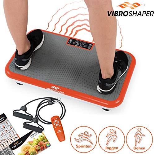 Mediashop Vibro Shaper Plate Vibration Device Dispositif d'exercice Complet du Corps Antidérapant Grandes Zones, y Compris Les Bandes d'entraînement Plan de Nutrition | L'original de la télé