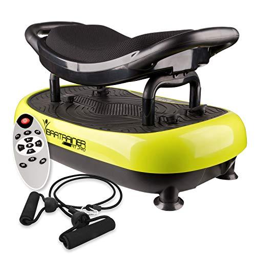 Vibratrainer– Plateforme Vibrante avec Siège. Travaillez à 1 100 tours par minute ce qui représente 1 100 contractions musculaires. Avec télécommande et capteurs.