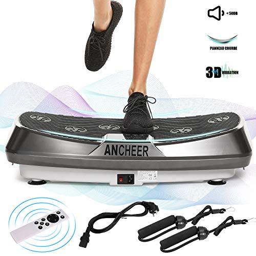 ANCHEER Plateforme Vibrante Oscillante Fitness avec Deux Moteurs | Oscillation, Vibration + Mouvement 3D | Grande Surface Incurvée Anti-Dérapante | 5 Programmes | 2 Bandes Elastiques d'Entraînements