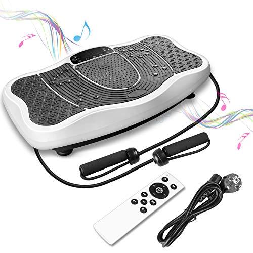 FITTIME Plateforme Vibrante,avec Bluetooth et Haut-parleurs,Max.150 KG, 0-99 Niveaux,200W Moteur Tranquille et2 Bandes de Résistance(Blanc)