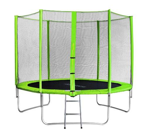 SixBros. Sixjump 3,05 M Trampoline de Jardin Vert - Filet de sécurité - Échelle - Housse de Protection TG305/1695