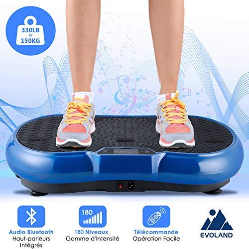 EVOLAND Plateforme Vibrante VP200, 180 Niveaux, 5 Programmes, Affichage LCD, Télécommande, 2 Bandes Elastiques, Appareil de Massage avec Haut-parleurs, 150KG Capacité