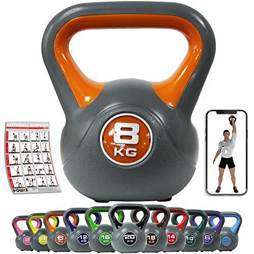 POWRX Kettlebell en plastique 2-20 kg avec haltère sphérique Workout I Colors et poids I Haltère d'inertie, 8 kg - Orange