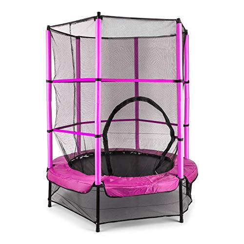 Klarfit Rocketkid - Trampoline , adapté au Jardin , pour Les Enfants de Plus de 3 Ans , Surface de Saut de 140cm , Filet de sécurité , Cordes , Charge maximale 50 kg , Rebord rembouré , Rose