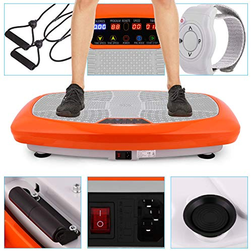 Bunao 3D Fitness avec Plateforme de Vibration,Matériel d'exercice pour la Maison,Plaque vibrante, Équilibrer Votre Poids, télécommande et Sangles d'équilibre incluses, écran (Orange)