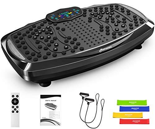 Atmonas Plateforme Vibrante avec Haut-Parleur Bluetooth, 5 Modes de Programme, 199 Niveaux, 2 Bandes Elastiques, Grande Surface pour Fitness & Musculation & Perte de Poids, Max.160 KG