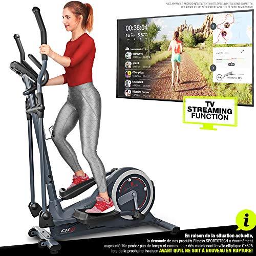Sportstech Vélo elliptique CX625 ergomètre pour la Maison Compatible avec Application Smartphone, Poids d'inertie de 24 KG, 22 programmes de Fitness, HRC + Porte-Tablette, Marque de qualité Allemande